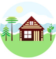 set icon - blockhouse river different trees vector image