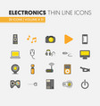 electronics technology thin line icons set vector image