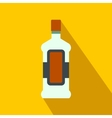 A bottle of alcohol and a glass flat icon vector image vector image