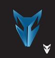 abstract blue fox head icon symbol vector image vector image