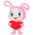 babunny holding a heart vector image vector image