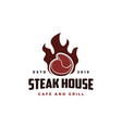 beef meat on fire vintage retro cafe bar logo vector image vector image