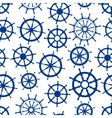 Blue sailing ships helms seamless pattern vector image