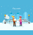 boy and girl sculpt a snowman in good moo vector image vector image