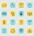 cafe icons set with glass espresso restaurant vector image vector image