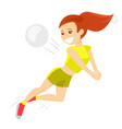 caucasian white sportswoman playing volleyball vector image vector image