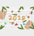 christmas and 2019 new year background vector image vector image