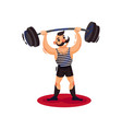 circus strong man holding heavy barbell over his vector image vector image