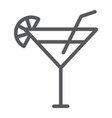 cocktail line icon beverage and drink alcohol vector image vector image
