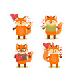 collection cute cartoon lovely red fox vector image vector image