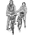 couple cyclists vector image vector image
