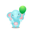 cute smiling blue elephant is happy with green vector image vector image