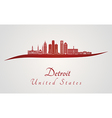 Detroit skyline in red vector image vector image