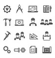 engineering architecting black icons set isolated vector image