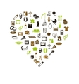 family and home icons in heart vector image vector image