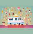 flat ice cream icons and ice cream truck vector image