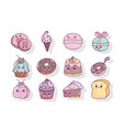 food cute candy sweet donut cookie biscuit ice vector image