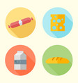 food flat design round icons with long shadow vector image