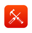 hammer and screwdriver icon digital red vector image