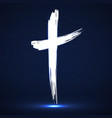 hand drawn cross grunge cross glowing christian vector image
