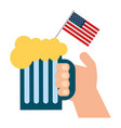 hand holding cold beer and american flag vector image vector image