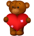 Happy cartoon bear holding heart vector image vector image