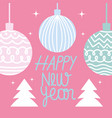 happy new year 2021 cute balls and trees on pink vector image