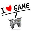i love game joystick heart background image vector image