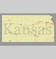 kansas accurate exact detailed state map vector image vector image
