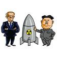kim jong-un nuclear weapon with vladimir putin vector image vector image