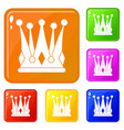 kingly crown icons set color vector image vector image