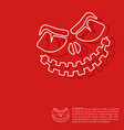 line halloween pumpkin on red background design vector image