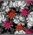 monochrome seamless pattern with vintage peonies vector image