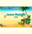 ocean coast with a chest parrot palm tree vector image vector image