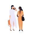 pair cute young stylish women standing and vector image
