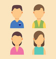 people avatar men and women characters set flat vector image
