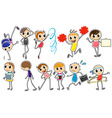 People doodles vector image vector image