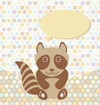 Polka dot background pattern Funny cute raccoon on vector image vector image