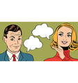 pop art cute retro couple in comics style with vector image vector image