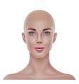realistic bald hairless woman portrait 3d vector image vector image
