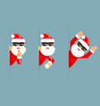 secret santa claus flashlight peeking out corner vector image