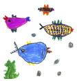 set childrens drawings - fish and seaweed vector image