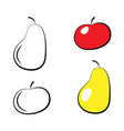 set of colorful pear and apple icons on a white vector image