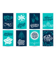 set of xmas scandinavian greeting cards with merry vector image