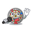 singing dartcoard isolated with in the character vector image vector image