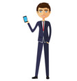 smiling man standing with phone vector image