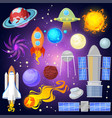 space planets and spaceship in planetary vector image vector image