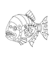 Steampunk style piranha fish coloring book vector image vector image