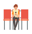 teen boy waiting at airport terminal for flight vector image vector image