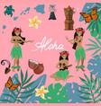 traditional symbols hawaiian culture set vector image vector image